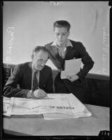 High schooler James Wheeler with explorer Paxson C. Hayes, Los Angeles, 1935