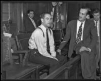 Einer Nelson seated in a courtroom, Los Angeles, 1935