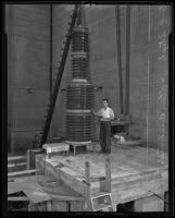 William Edeards Stephens with an atom smasher at Caltech, Pasadena, 1935