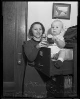 Sophie Levitt with adopted baby Charles William Horn, Los Angeles, 1935