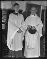 Bishop Stevens ordaining Reverend David C. Graham into the Episcopalian Church, Los Angeles, 1935