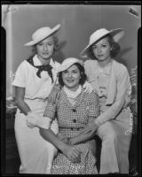 Sisters Joan, June, and Jean Gale appear in court, Los Angeles, 1935