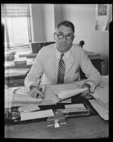 Stabbing victim Leonard Husar returns to work, Los Angeles, 1935