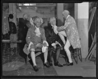 Judge Samuel R. Blake with Attorneys A. G. Ritter, Byron Hanna, and Norman Bailie fixing their wigs before the Los Angeles Bar Association's historical pageant, Los Angeles 1935