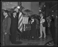 William Mulholland lying in state at City Hall, Los Angeles, 1935