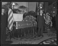 Joe Scott eulogizes William Mulholland at City Hall, Los Angeles, 1935