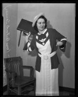 Actress Faith Hampton sues stunt man for injury, Los Angeles, 1935