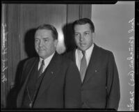 Religious delegates Arthur Earl Kernahan and his son Earl Kernahan visit Los Angeles, 1935
