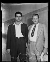 UCLA football players Fred Funk and Houghton Norfleet testify in fraud charge, Los Angeles, 1935