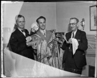 Magicians Dave Mishel, A. Caro Miller, and Jack Boshard attend convention, Hollywood, 1935