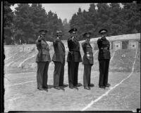 Col. Jesus G. Fuentes, General Gustavo Salinas, Chief James Davis, Lt. Col. Rafael M. Pedrajo, and Col. Miguel de la Vega practice shooting, Elysian Park, 1935