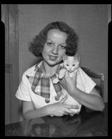 Pauline Housefeld and her cat, Los Angeles, 1935