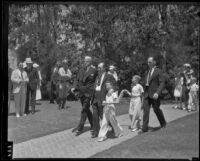 William F. Gettle, Robert Gettle, and William F. Gettle Jr. attend the funeral of their wife and mother, Glendale, 1935