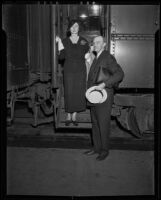 William P. and Sally McCracken Jr. at train station, 1935