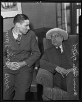 Amon Carter and Will Rogers Jr. converse about California and Texas, Los Angeles, 1935