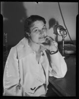Mrs. Lucille Sisney during narcotic trial, Los Angeles, 1935