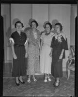 Elizabeth Coylear, Martha Ellis, Barbara Nims, Jean Colkitt at bride-to be luncheon, Los Angeles, 1935
