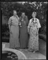 Mrs. Whittaker, Mrs. Morgan, and Mrs. Weinmann at a garden party, Hollywood, 1935