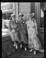 Mrs. Kathryn Filcher, Ms. Leah Buchanan, and Ms. Maude Elizabeth Richards at returned travelers fete, Los Angeles, 1935