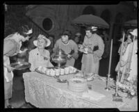Mrs. William Hazlett, Mrs. W. Jefferson, and others, enjoy a reception, 1935