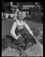 "Helen Gustafson, ""Miss Sweden"" of California, at California Pacific International Exposition, San Diego, 1935"