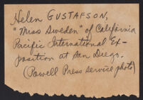 Handwritten note describing related photograph of Helen Gustafson, 1935