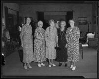 Mrs. Heinze, Mrs. Bryant, Mrs. Kromer, Mrs. Hamer, and Mrs. King of the Friday Morning Club, 1935