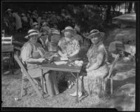 Mrs. Thayer, Mrs. Austin, and Mrs. Owens at a picnic, 1935