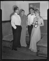 J. Ross Clark, II, Baroness and Baron Maximilian von Romberg, and Mrs. Clark at a ball, Santa Barbara, 1935