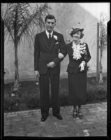 Newlyweds Mr. and Mrs. George L. Eastman, Jr., before their honeymoon, Los Angeles, 1935