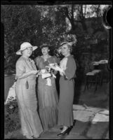Helen Moorehouse, Mrs. Allan, Mrs. Smurr of the Ebell Club in the garden, Los Angeles, 1935