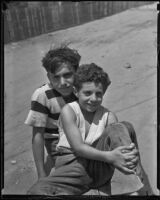 Angelo Nasca and Sam Nasca, brothers learning to swim, Los Angeles, 1935