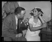 Helen Mendoza and William Hess during the William Tanner trial, Los Angeles, 1935