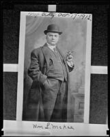Photograph of William L. McKee taken 22 years before his suicide at age 63, New York, 1913