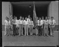 Japanese American Legion members S. Iida, Commander Karl K. Iwanaga, Vice-Commander I. K. Sano, Adjutant T. Koseki, J. Omri, and Standard Bearer W. Tanara, Los Angeles, 1935