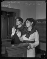 Rosa Giusti accompanies Isabel Suazo to court, Los Angeles, 1935