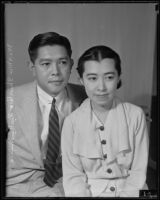 Newlyweds Shintaro Fukushima, Japanese Vice-Consul, and Chiyo Fukushima, sitting together in new home, Los Angeles, 1935