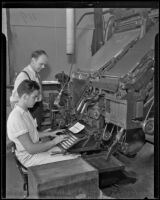 Man learning to type at the Frank Wiggins Trade School, Los Angeles, 1935