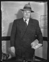 Frederick Hastings Rindge Jr. at court for evading earlier court citations, Los Angeles, 1935