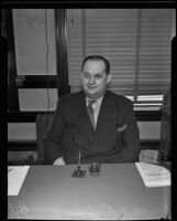 Frederick Hasting Rindge Jr. appearing before court after evading court citations, Los Angeles, 1935