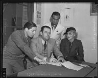Maurice Kusell, Blayney Matthews, Jayne Manners and Milton Golden During the case of the disappearance of Justice Crater, Los Angeles,  1925