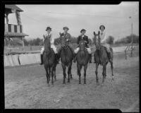 Mrs. Billie Moldt, Mrs. Gordon Jeffrey, Fanchon Johnson, and Marguerite Klinker astride horses, Los Angeles, 1935