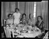 Catholic women of the Los Angeles County Mrs. Clarence Shaw, Mrs. John Paton, Mrs. James Mahon, Mrs. George L. Reynolds, and Jeanette Saxer, Los Angeles, 1935