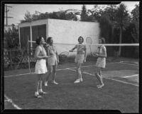 Westwood Hills Women's Club playing badminton Mmes. S. H. Voss, J. H. Vandiver, Arletta Sturzenger, and Mrs. E. G. Cochran, Westwood, 1935