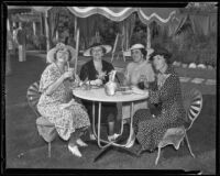 Harriet Bryson, Mary P. Emery, Marye Shannon Harrington, and Violet Blakely lunch at the Ambassador, Los Angeles, 1935