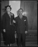 Lorraine Hewitt and her attorney S. S. Hahn, Los Angeles, 1935