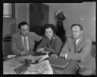 Detective Lieutenant Thad Brown, Lorraine Walsh, and Det. Lt. Aldo Corsini, Los Angeles, 1935