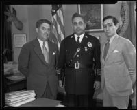Congressman Benjamin Hill, Jr., Police Chief James E. Davis, and Mexican Consul Ricardo G. Hill, Los Angeles, 1935