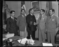 Police Chief James E. Davis, Mexican Consul Ricardo G. Hill, and Congressman Benjamin Hill, Jr., Los Angeles, 1935