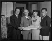 Albert Lee Stephens takes the oath of office surrounded by his wife and two sons: Marie Stephens, Albert Lee Stephens Jr. and Clarke Edwin Stephens, Los Angeles, 1935